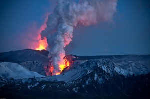 Iceland closed main airport after a volcano eruption