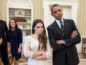 President Barack Obama and McKayla Maroney are not impressed