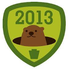 Groundhog Day 2013 - Punxsutawney Phil and his shadow