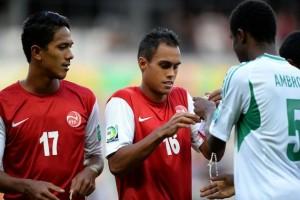 Tahiti scores a goal against Nigeria